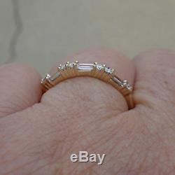 0.60 Ct Baguette & Round Cut Diamond Eternity Wedding Band Real 10k Yellow Gold
