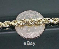 10K Men's Yellow Gold Rope Bracelet 5mm 8 Inches 10kt cuben franco chain, REAL
