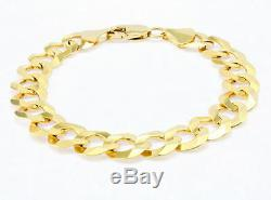 10K REAL Yellow Gold 11MM LARGE Heavy Italian Curb Cuban Link Chain Bracelet 8