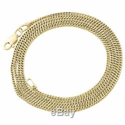10K Real Yellow Gold 1.5MM Hollow Franco Box Link Chain Necklace 22 30 Inches