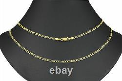 10K Real Yellow Gold 2.5mm Italian Figaro Chain Link Pendant Necklace 16- 26