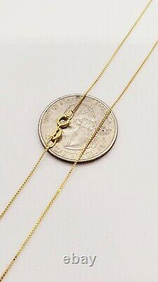 10K Solid Real Gold Italian Box Chain Men's Women's Necklace 16 24 inches