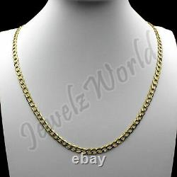 10K Solid Yellow Gold Men's 2.5MM Cuban Curb Link Chain Necklace, 10KT Real Gold