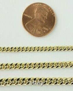 10K Yellow Gold 3mm 4mm 5mm Real Miami Cuban Link Chain Necklace 16-30