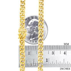 10K Yellow Gold 5mm Real Miami Cuban Link Chain Pendant Necklace Box Clasp 22