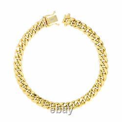 10K Yellow Gold 6mm Real Miami Cuban Link Chain Bracelet Safety Box Clasp 7.5