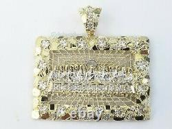 10K Yellow Gold Last supper Diamond Cut Charm Pendant, 2 Inches Jesus, Real