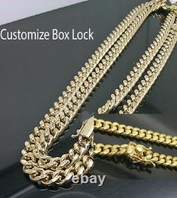 10K Yellow Gold Men 6mm Miami Cuban Chain With Box Lock 18 inch Real 10kt Gold
