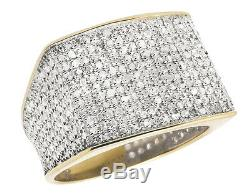 10K Yellow Gold Men's Pave Eternity Genuine Diamond Pinky Ring Band 1.35 Ct Sz-7