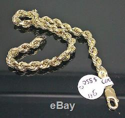 10K Yellow Gold Men's Rope Bracelet 5mm 9 Inches Long Real Gold