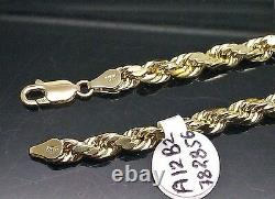 10K Yellow Gold Mens Rope Chain Necklace 18 Inch 5mm Franco Cuban Real Gold