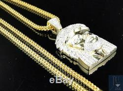 10K Yellow Gold Real 1.5Inch Diamond Jesus Face Piece Pendant with 24 Inch Chain