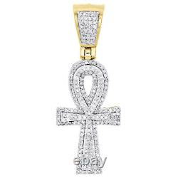 10K Yellow Gold Real Diamond Egyptian Ankh Cross Pendant 1.50 Pave Charm 1/2 CT