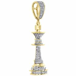 10K Yellow Gold Real Diamond King Chess Piece Pendant Men's Pave Charm 0.40 CT