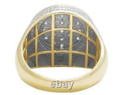 10K Yellow Gold Real Diamond Men's 3D Iced Round Cluster Pinky Ring 1.80Ct 18MM