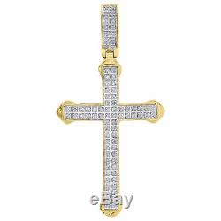 10K Yellow Gold Real Diamond Mini Cross Pendant 2 Mens Pointed Charm 1/4 ct