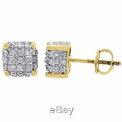 10K Yellow Gold Real Diamond Stud 7mm 3D Cube Square Mens Pave Earrings 0.33 Ct
