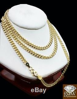 10k Gold 5mm Miami Cuban Link Chain Necklace 20,22,24,26 Inch Men Women &Real