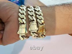 10k Gold Bracelet For Men, 12mm Real Royal Miami Cuban Link Thick Strong 8 inch