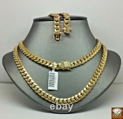 10k Gold Chain Ladies Real Miami Cuban Necklace 7mm 16 Inch Box Clasp Strong