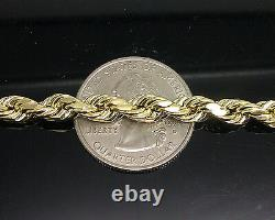 10k Gold Rope chain 6mm 26 Inch Real 10kt Yellow Gold Necklace Diamond Cuts