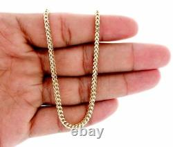 10k Real Yellow Gold 3.0 MM Franco Box Cuban Chain Necklace 22 Inch