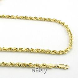 10k Real Yellow Gold 3mm Diamond Cut Rope Chain Necklace Lobster Clasp 16- 32