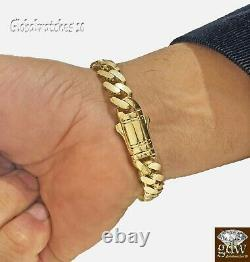 10k Yellow Gold Bracelet for Mens Real Gold Miami Cuban Royal Link 8.5 inch Long
