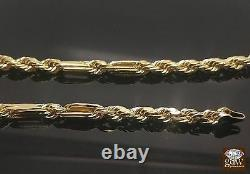 10k Yellow Gold Chain Milano Rope Necklace Real Gold 24 inch For Men Women 6mm
