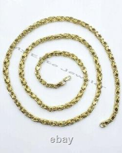 10k Yellow Gold Chino Byzantine Box Chain Mens Necklace 22 Inch 3.5mm REAL GOLD