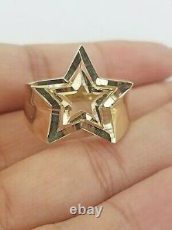10k Yellow Gold Double Star Mens Ring Diamond Cut Design Real 10k casual pinky