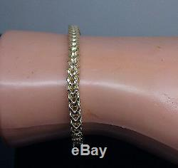 10k Yellow Gold Franco Bracelet 8 Inch Mens Women 3.5mm Rope Cuban Real Strong