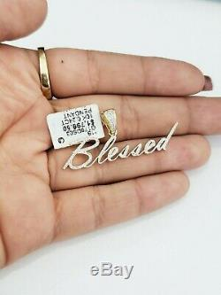 10k Yellow Gold Genuine Real Diamonds Pendant Charm Blessed Name Plate