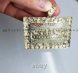 10k Yellow Gold Last supper pendant Byzantine Chain Mens Necklace, Charm, 100%REAL