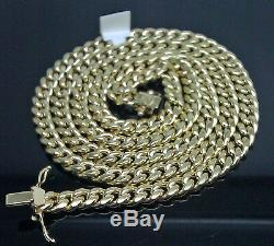 10k Yellow Gold Men's 8.5 mm Real Miami Cuban Chain Necklace Box Lock 22 inch