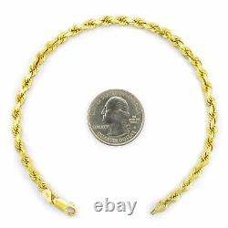 10k Yellow Gold Real Authentic 4mm Womens Diamond Cut Rope Chain Bracelet 7in 7