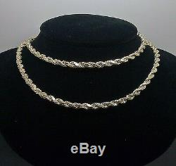 10k Yellow Gold Rope Chain Diamond Cuts 4mm 28 Inch, Real Gold, cuben, link