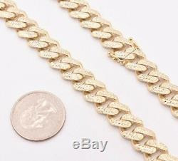 11mm Mens Miami Cuban Diamond Cut Royal Link Chain Necklace Real 10K Yellow Gold