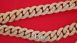 13 mm Miami Cuban Link Chain Necklace 32 Ct Real Diamonds 250 Grams Solid Gold