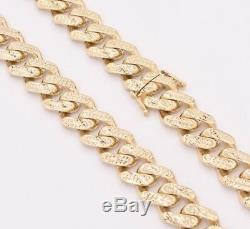 13mm Mens Miami Cuban Diamond Cut Royal Link Chain Necklace Real 10K Yellow Gold