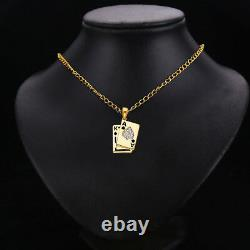 14K Real Solid Yellow Gold CZ Spade A & K Card Pendant For men