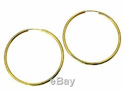 14K Real Yellow Gold 2mm Thickness Polished Medium Endless Hoop Earrings 40mm