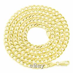 14K Real Yellow Gold 4.5mm Mens Curb Chain Cuban Link Necklace Lobster Clasp 24