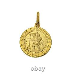 14K Real Yellow Gold Religious St. Christopher Small Medal Pendant 12.5mm 1/2