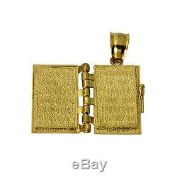 14K Real Yellow Gold Small Holy Bible Lord's Prayer open & close Charm Pendant