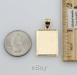 14K Solid Real Yellow Gold Diamond Cut Rectangle Dog Tag ID Charm Pendant