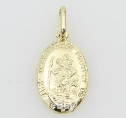 14K Solid Real Yellow Gold Small Oval Religious Saint Christopher Medal Pendant