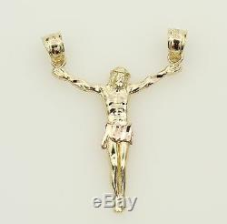14K Solid Real Yellow Rose Two Tone Gold Small Jesus Body Crucifix Cross Pendant