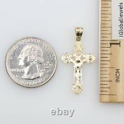 14K Solid Real Yellow White 2 Tone Gold Very Small Jesus Cross Crucifix Pendant