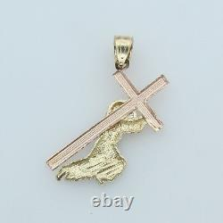 14K Solid Real Yellow White Rose 3Color Gold Small Jesus Carrying Cross Pendant